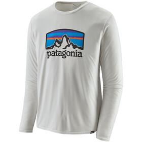 Patagonia Cap Cool Daily Graphic Jersey manga larga Hombre, fitz roy horizons/white